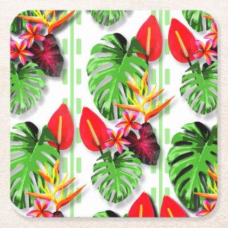 美しく粋な熱帯葉の花のテーマ スクエアペーパーコースター