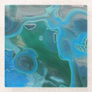 美しく自然な渦巻の青によって大理石模様をつけられる宝石 ガラスコースター