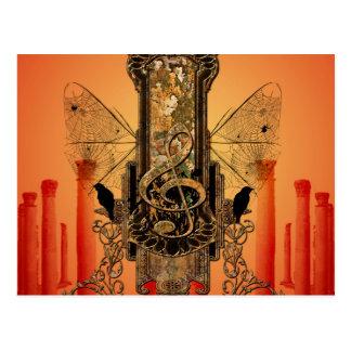 美しく装飾的なクレフ、音符記号 ポストカード