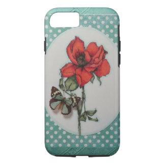 美しく赤いですかオレンジ茶バラw/butterfly iPhone 8/7ケース