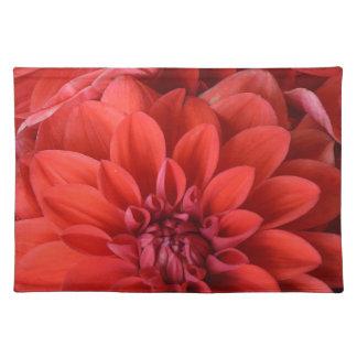 美しく赤いダリアの花 ランチョンマット