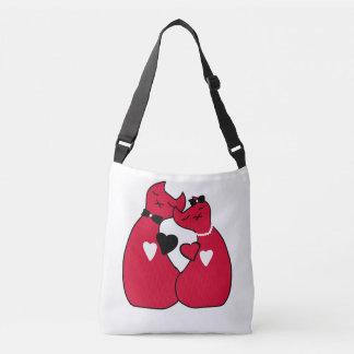 美しく赤いバレンタイン猫のプリントの十字の遺体袋 クロスボディバッグ