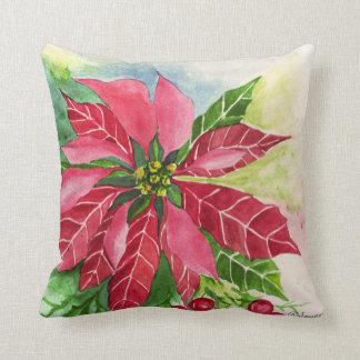 美しく赤いポインセチアの花の枕 クッション