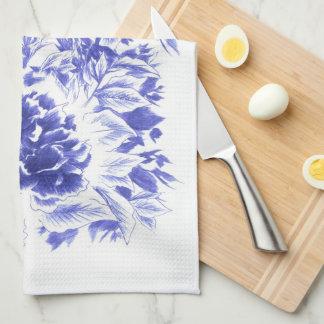 美しく青いシャクヤクの台所タオル キッチンタオル