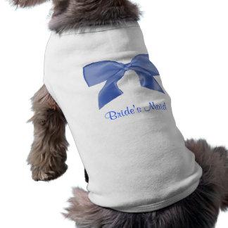 美しく青い弓小犬のTシャツ ペット服