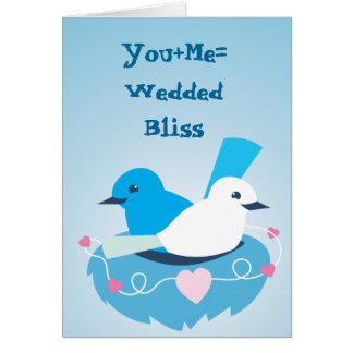 美しく青い愛鳥のミソサザイの白 カード