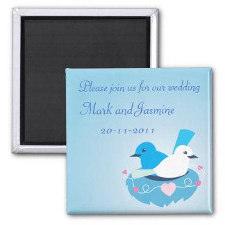 美しく青い愛鳥のミソサザイの白 マグネット