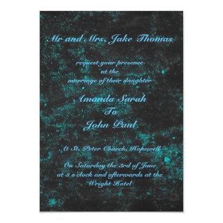 美しく青い正方形の結婚式招待状 12.7 X 17.8 インビテーションカード