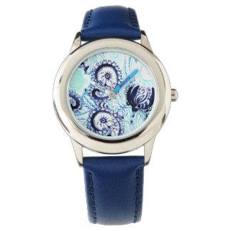 美しく青い水彩画のペイズリーのプリント リストウォッチ