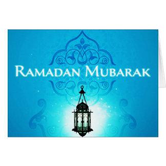 美しく青い背景のラマダーンムバラク カード