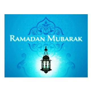 美しく青い背景のラマダーンムバラク ポストカード