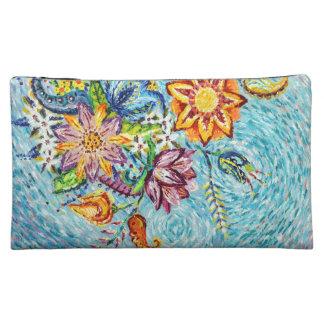 美しく青い花の抽象芸術の化粧品のバッグ コスメティックバッグ