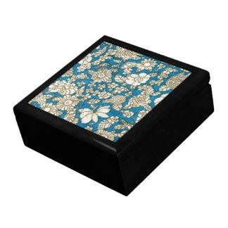 美しく青い花の織物パターン ギフトボックス