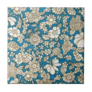 美しく青い花の織物パターン タイル