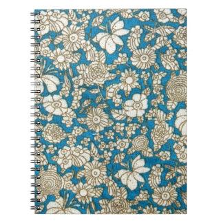 美しく青い花の織物パターン ノートブック