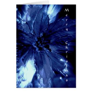美しく青いpointsettaのクリスマスカード カード