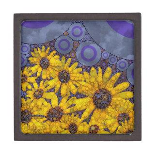 美しく青く黄色いヒマワリの抽象芸術 ギフトボックス