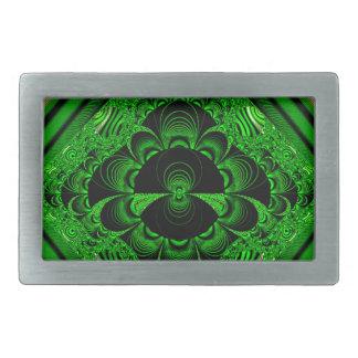 美しく鮮やかな緑の万華鏡のように千変万化するパターン 長方形ベルトバックル