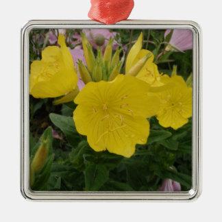美しく黄色い花 メタルオーナメント