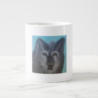 美しく黒いオオカミ ジャンボコーヒーマグカップ