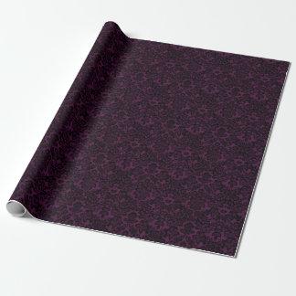 美しく黒いヴィンテージのフルーアのダマスク織 ラッピングペーパー