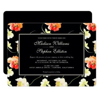 美しく黒い花柄-結婚式 カード