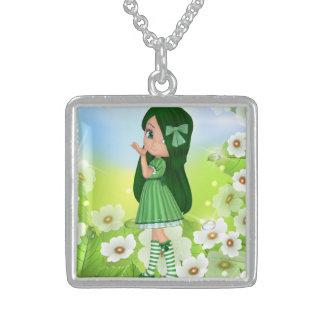 美しく、かわいい緑の女の子 スターリングシルバーネックレス