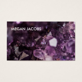美しく、はっきりしたな紫色の水晶Geode 名刺