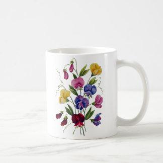 美しく、カラフルな、刺繍されたスイートピー コーヒーマグカップ
