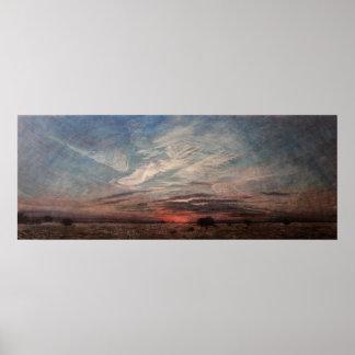 """美化して下さいイメージ、日没の絵画を、""""真夏#20 """" ポスター"""