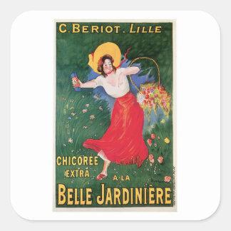 美女のJardiniereのChicoreeのヴィンテージの食糧広告の芸術 スクエアシール