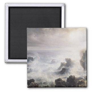 美女Ileの海岸の沖の嵐 マグネット