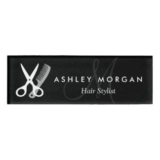 美容師のサロンの白黒はモノグラムを切ります 名札
