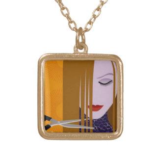 美容師のネックレス ゴールドプレートネックレス