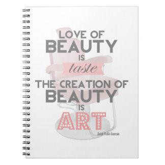 美容師の美しいは芸術の引用文のレトロのノートです ノートブック