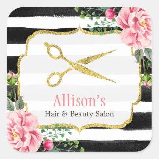 美容師の金ゴールドのはさみのピンクの花のストライプの スクエアシール