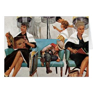 美容院で眠っているカウボーイ カード