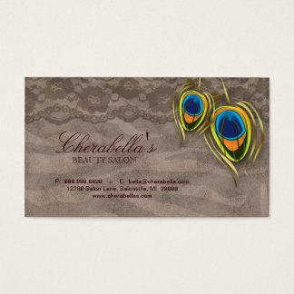 美容院のヴィンテージの孔雀の羽のブラウンのスエード 名刺