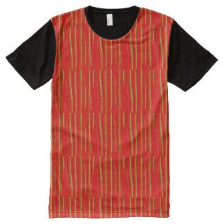 美術のグラフィックの多彩なオレンジは縞で飾ります オールオーバープリントT シャツ