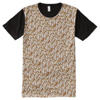 美術のグラフィックの多彩な点は縞で飾ります オールオーバープリントT シャツ
