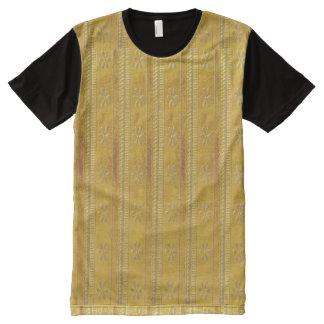 美術のグラフィックアートは金nパターンを織ります オールオーバープリントT シャツ