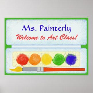 美術教師の教室の喜ばしい徴候 のペンキのパレット ポスター