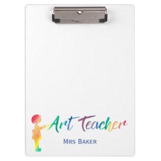 美術教師の虹の水彩画のシルエットのトレンディー クリップボード