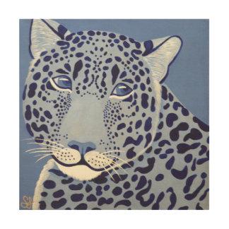 群青色のジャガーの木製の壁パネル ウッドウォールアート