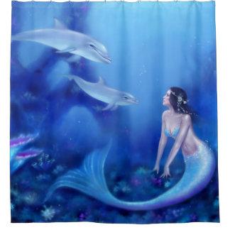 群青色の人魚およびイルカのシャワー・カーテン シャワーカーテン