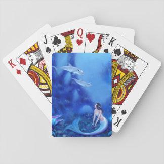 群青色の人魚の芸術の古典のトランプ トランプ