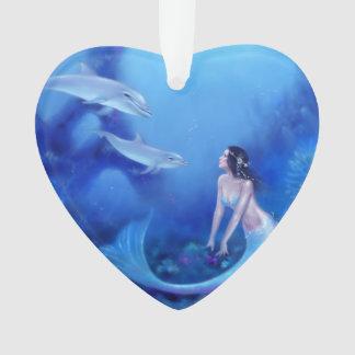 群青色の人魚及びイルカの芸術のハートのオーナメント オーナメント
