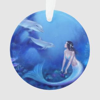 群青色の人魚及びイルカの芸術の円形のオーナメント オーナメント