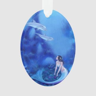 群青色の人魚及びイルカの芸術の楕円形のオーナメント オーナメント