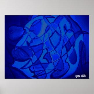 群青色青のモダンでコンテンポラリーな抽象美術 ポスター